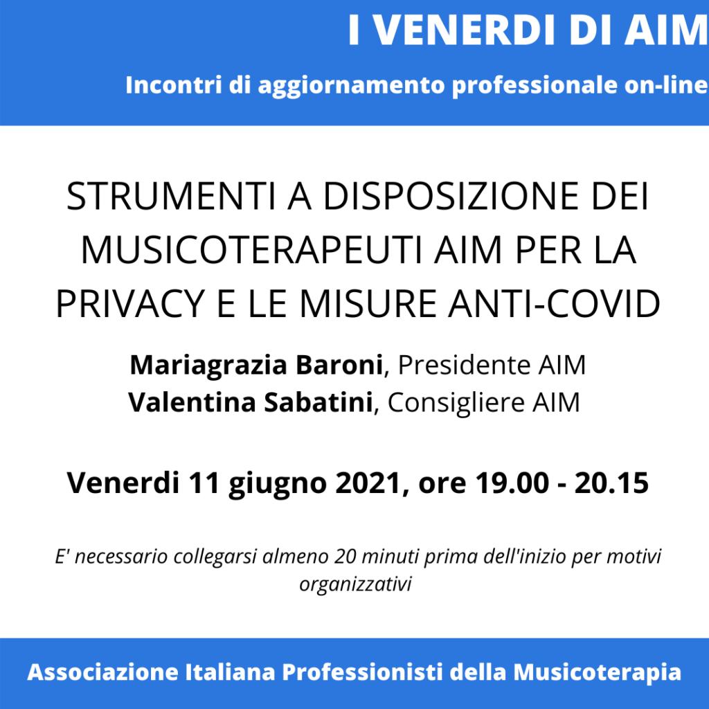 STRUMENTI A DISPOSIZIONE DEI MUSICOTERAPEUTI AIM SU PRIVACY-GDPR E MISURE ANTI-COVID